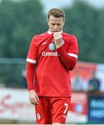 24 July 2014; A dejected Danny North, Sligo Rovers, at the end of the game. UEFA Champions League, Second Qualifying Round, Second Leg, Sligo Rovers v Rosenborg, Showgrounds, Sligo. Picture credit: David Maher / SPORTSFILE