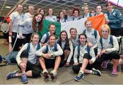 25 July 2014; The Republic of Ireland squad pictured on their return to Dublin following the UEFA U19 Women's European Championship Finals. Dublin Airport, Dublin. Picture credit: Ramsey Cardy / SPORTSFILE