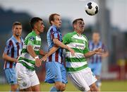 25 July 2014; Robert Bayly and Evan Osam, left, Shamrock Rovers, in action against Cathal Brady, Drogheda United. SSE Airtricity League Premier Division, Shamrock Rovers v Drogheda United. Tallaght Stadium, Tallaght, Dublin. Picture credit: Paul Mohan / SPORTSFILE