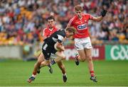 26 July 2014; Charlie Harrison, Sligo, in action against Thomas Clancy, left, and Ian Maguire, Cork. GAA Football All Ireland Senior Championship, Round 4A, Cork v Sligo. O'Connor Park, Tullamore, Co. Offaly. Picture credit: Barry Cregg / SPORTSFILE