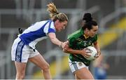 26 July 2014; Katie O'Brien, Meath, in action against Ailish Cornyn, Cavan. TG4 All-Ireland Ladies Football Senior Championship, Round 1 Qualifier, Cavan v Meath. Páirc Táilteann, Navan, Co. Meath. Picture credit: Paul Mohan / SPORTSFILE