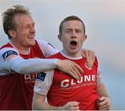 26 July 2014; St. Patrick's Athletic's Sean Hoare, right,  celebrates after scoring his side's second goal with team-mate Derek Foran. SSE Airtricity League Premier Division, Athlone Town v St. Patrick's Athletic. Athlone Town Stadium, Athlone, Co. Westmeath. Picture credit: David Maher / SPORTSFILE