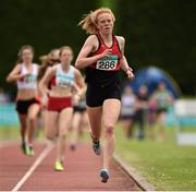 26 July 2014; Emma O'Brien, from Inbhear Dee AC, Wicklow Town, on the way to winning the Girls U16 800m. GloHealth Juvenile Track and Field Championships, Tullamore Harriers AC, Tullamore, Co. Offaly. Picture credit: Matt Browne / SPORTSFILE