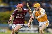 27 July 2014; Conor Whelan, Galway, in action against Eoin Conlon, Antrim. Electric Ireland GAA Hurling All Ireland Minor Championship Quarter-Final, Antrim v Galway. Kingspan Breffni Park, Cavan. Picture credit: Ramsey Cardy / SPORTSFILE