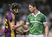 27 July 2014; Seamus Hickey, Limerick, and Liam Óg McGovern, Wexford, exchange a handshake after the game. GAA Hurling All Ireland Senior Championship Quarter-Final, Limerick v Wexford. Semple Stadium, Thurles, Co. Tipperary. Picture credit: Diarmuid Greene / SPORTSFILE