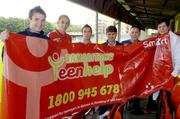 13 September 2006; St Patrick's Athletic F.C. players, from left, Brendan Clarke, Luke Fitzpatrick, Sean O'Connor, Kevin Grogan, with Pat Teehan, second from left, and Patricia Byrne, The Samaritans, during a photocall to support the recently launched Samaritans Teenhelp service, a community initative to provide help and emotional support for suicidal teenagers. Richmond Park, Dublin. Picture credit: Matt Browne / SPORTSFILE