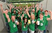 28 July 2014; Pictured are members of You Boys In Green, Ireland's widest network of Irish football supporters, at the Aviva Stadium to launch Three's new Power Your Network campaign. Three is celebrating the rollout of 4G by inviting networks of people across Ireland, like YBIG, to share their story for a chance to win a cash prize. To enter, simply log on to Three's Facebook page at Facebook.com/3Ireland and share the story of #YourNetwork. Aviva Stadium, Lansdowne Road, Dublin. Picture credit: David Maher / SPORTSFILE