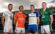28 July 2014; In attendance at a GAA Football All Ireland Round 4B Press Event are, from left, Fergal Conway, Kildare, Kevin Dyas, Armagh, Darren Hughes, Monaghan, and Kevin Reilly, Meath. Croke Park, Dublin. Picture credit: Paul Mohan / SPORTSFILE