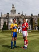 28 July 2014; Clare's Colm Galvin and Cork's Alan Cadogan, both Bord Gáis Energy Ambassadors, met on neutral territory today at Adare Manor, County Limerick, ahead of Wednesday's Bord Gáis Energy GAA Hurling U-21 Munster Championship Final at Cusack Park in Ennis. The match will be shown live on TG4 from 7.15pm with fans able to vote for their Man of the Match using the hBGE hashtag on twitter. Pictured are Clare's Colm Galvin, left, and Cork's Alan Cadogan. Adare Manor, Limerick Road, Adare, Co. Limerick. Picture credit: Diarmuid Greene / SPORTSFILE