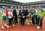 29 July 2014; Uachtarán Chumann Lúthchleas Gael Liam Ó Néill, centre, with from left to right, Eoin Reilly, Laois, Barry Kenneally, Cork, Niamh Mackin, Louth,  Martin Donnelly, sponsor, Humphrey Kelleher, Chairman of the National Poc Fada Committee, Brendan Cummins, Tipperary, President of the Camogie Association Aileen Lawlor, Cathrina Daly, Galway, Jack Coyne, Galway, Aoibhean Murphy, Armagh, Donal O'Brien, Mayo, and Alan Kelly, Laois, during the launch of the M.Donnelly GAA's All-Ireland Poc Fada Finals. Croke Park, Dublin. Picture credit: David Maher / SPORTSFILE