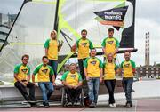 29 July 2014; In attendance at the Irish Sailing Team Announcement for the upcoming Rio 2016 Olympic Qualifiers are, from left, James Espey, Ryan Seaton, Saskia Tidey, John Twomey, Matt McGovern, ISA Performance Director James O'Callaghan, Andrea Brewster, Finn Lynch and Ian Costello. Grand Canal, Dublin. Picture credit: Paul Mohan / SPORTSFILE