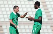29 July 2014; Ireland's Gary Messett, left, and Tomiwa Badun celebrate after the match. 2014 CPISRA Football 7-A-Side European Championships, Ireland v Portugal, Maia, Portugal. Picture credit: Carlos Patrão / SPORTSFILE