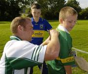 9 September 2006; Eventual winner Mayo's Fintan Ruddy signs autographs after the 2006 MBNA Kick Fada Final. Bray Emmets GAA Club, Bray, Co. Wicklow. Picture credit: Pat Murphy / SPORTSFILE