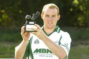 9 September 2006; Fintan Ruddy, Mayo, holds the trophy after victory in the 2006 MBNA Kick Fada Final. Bray Emmets GAA Club, Bray, Co. Wicklow. Picture credit: Pat Murphy / SPORTSFILE