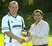 9 September 2006; Mayo's Fintan Ruddy is presented with his trophy by Bertrand Boisse, MBNA, after winning the 2006 MBNA Kick Fada Final. Bray Emmets GAA Club, Bray, Co. Wicklow. Picture credit: Pat Murphy / SPORTSFILE