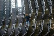 2 August 2014; A young Monaghan supporter gets wet in the Davin Stand. GAA Football All-Ireland Senior Championship, Round 4B, Kildare v Monaghan, Croke Park, Dublin. Picture credit: Dáire Brennan / SPORTSFILE