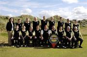 15 September 2006: Loughrea Golf Club, who were beaten in the semi-finals of the Bulmers Jimmy Bruen Shield. Back row, left to right: Orlaith Fortune, Marketing Manager, Bulmers, Greg Glynn, Frank Joyce, Michael Bond, Albert Mannion, Trevor Horan, Darragh Burke, Barry Horgan and Andrew Kilmartin, front row l to r: Brian Farragher, Alan Kilmartin, Gerry Glynn, Barry Kearney, Team Captain, Peter Murphy, Vice-Captain, Mike Newell, President, Darren Callanan. Bulmers Cups and Shields Finals 2006, Enniscrone Golf Club, Enniscrone, Sligo. Picture credit: Ray McManus / SPORTSFILE