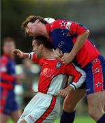 20 August 1999; Ian Gilzean of St Patrick's Athletic in action against Clive Delaney of UCD during the Eircom League Premier Division match between UCD and St Patrick's Athletic at Belfield Park in Dublin. Photo by Ray McManus/Sportsfile