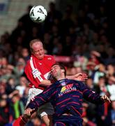 11 September 1999; Dave Hill of Cork City in action against Ian Gilzean of St Patrick's Athletic during the Eircom League Premier Division match between Cork City and St Patrick's Athletic at Turners Cross in Cork. Photo by Ray Lohan/Sportsfile