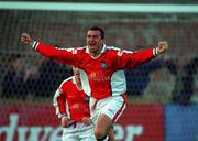 20 August 1999; Ian Gilzean of St Patrick's Athletic celebrates after scoring his side's first goal during the Eircom League Premier Division match between UCD and St Patrick's Athletic at Belfield Park in Dublin. Photo by Ray McManus/Sportsfile