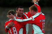 20 August 1999; Ian Gilzean celebrates St Patrick's Athletic team-mates Trevor Molloy, left, and Stephen McGuinness, right, after scoring his side's first goal during the Eircom League Premier Division match between UCD and St Patrick's Athletic at Belfield Park in Dublin. Photo by Ray McManus/Sportsfile