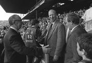 3 September 1989; Former Republic of Ireland manager Jack Charlton and former assistant manager Maurice Setters, right, arrive for the All-Ireland Senior Hurling Championship Final between Tipperary and Antrim at Croke Park in Dublin. Photo by Ray McManus/SportsfileTSFILE