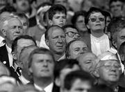 3 September 1989; Former Republic of Ireland manager Jack Charlton watches on during the All-Ireland Senior Hurling Championship Final between Tipperary and Antrim at Croke Park in Dublin. Photo by Ray McManus/Sportsfile