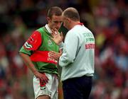 22 August 1999; Mayo's Paraic Kelly receives some instructions during the All-Ireland Minor Football Championship Semi-Final match between Cork and Mayo at Croke Park in Dublin. Photo by Ray McManus/Sportsfile