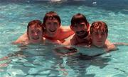 July 1998; Republic of Ireland's (From Left) Alan Quinn, Robbie Keane, Jason Gavin and Barry Quinn relax in the team hotel swimming pool in Ayia Napa, Cyprus, U.18 European Championships. Picture credit; David Maher/SPORTSFILE