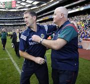 17 September 2006; Kerry manager Jack O'Connor with Mayo's John Morrison after the final whistle. Bank of Ireland All-Ireland Senior Football Championship Final, Kerry v Mayo, Croke Park, Dublin. Picture credit: Brendan Moran / SPORTSFILE