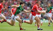 3 August 2014; Brian Hurley, Cork, in action against Ger Cafferkey, Mayo. GAA Football All-Ireland Senior Championship, Quarter-Final, Mayo v Cork, Croke Park, Dublin. Picture credit: Ray McManus / SPORTSFILE