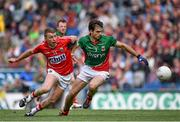 3 August 2014; Ger Cafferkey,  Mayo, in action against Brian Hurley, Cork. GAA Football All-Ireland Senior Championship, Quarter-Final, Mayo v Cork, Croke Park, Dublin. Picture credit: Brendan Moran / SPORTSFILE