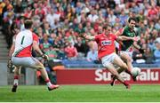 3 August 2014; Colm O'Neill, Cork, has his scoring attempt blocked by Ger Cafferkey, Mayo. GAA Football All-Ireland Senior Championship, Quarter-Final, Mayo v Cork, Croke Park, Dublin. Picture credit: Cody Glenn / SPORTSFILE