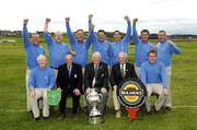 16 September 2006: Galway Golf Club, who won the Bulmers Senior Cup. Back row, left to right: David Scully, Joe Lyons, Eddie McCormack, Tom Nolan, Damien Glynn and John Neary. Front row l to r: Donal O'Sullivan, Team Captain, Serge Bruzzi, Captain, Tommy Basquille, President Elect, GUI, Eugene Fayne, Chairman, GUI Connacht Branch and Gary Scott. Bulmers Cups and Shields Finals 2006, Enniscrone Golf Club, Enniscrone, Sligo. Picture credit: Ray McManus / SPORTSFILE