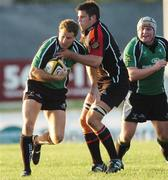 22 September 2006; Matt Mostyn, Connacht, is tackled by Phil Godman, Edinburgh Gunners. Magners Celtic League 2006 - 2007, Connacht v Edinburgh Gunners, Sportsground, Galway. Picture credit: Ray Ryan / SPORTSFILE