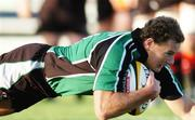 22 September 2006; Matt Mostyn, Connacht, dives over to score a try against Edinburgh Gunners. Magners Celtic League 2006 - 2007, Connacht v Edinburgh Gunners, Sportsground, Galway. Picture credit: Ray Ryan / SPORTSFILE