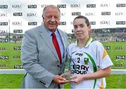 4 August 2014; Sarah Houlihan, Kerry, is presented with the Player of the Match by Pat Quill, President, Ladies Gaelic Football Association. TG4 All-Ireland Ladies Football Senior Championship Round 2 Qualifier, Donegal v Kerry, St Brendan's Park, Birr, Co. Offaly. Picture credit: Brendan Moran / SPORTSFILE