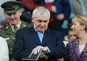 1 October 2006; An Taoisheach Bertie Ahern T.D. before the start of the final. TG4 Ladies All-Ireland Senior Football Championship Final, Cork v Armagh, Croke Park, Dublin. Picture credit: David Maher / SPORTSFILE