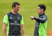 8 August 2014; Munster's Peter O'Mahony in conversation with head of physiotherapy Shea McAleer during squad training. Munster Rugby Squad Pre-Season Training, University of Limerick, Limerick. Picture credit: Diarmuid Greene / SPORTSFILE
