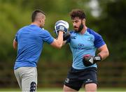 8 August 2014; Leinster's Mick McGrath with Cillian Reardon, strength & conditioning coach, during squad training at a Leinster Rugby Training Open Day held in Ashbourne RFC, Ashbourne, Co. Meath. Picture credit: Stephen McCarthy / SPORTSFILE