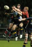 6 October 2006; Denis Leamy, left, and Paul O'Connell, Munster, contest a kick off with Jamie Heaslip, Leinster. Magners League, Leinster v Munster, Lansdowne Road, Dublin. Picture credit: Brendan Moran / SPORTSFILE