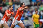 9 August 2014; Stefan Campbell, Armagh, celebrates with team-mate Brian Mallon after scoring his side's first goal. GAA Football All-Ireland Senior Championship, Quarter-Final, Donegal v Armagh, Croke Park, Dublin. Picture credit: Stephen McCarthy / SPORTSFILE