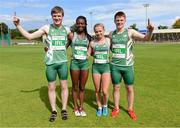 9 August 2014; Ireland's Mixed Under 16 4x100 relay team from left, Daniel Ryan, Gina Akpe-Moses, Molly Scott and Luke Morris who set a new national record by of 45.42 seconds. 2014 Celtic Games, Morton Stadium, Santry, Co. Dublin. Picture credit: Cody Glenn / SPORTSFILE