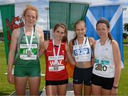 9 August 2014; Medallists in the Girl's Under 16 800m event, from left, Emma O'Brien, Ireland, second place, Cari Hughes, Wales, first place, Erin Wallace, Scotland, third place, and Richael Brown, Greystones & District A.C., fourth place. 2014 Celtic Games, Morton Stadium, Santry, Co. Dublin. Picture credit: Cody Glenn / SPORTSFILE