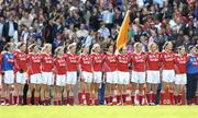 1 October 2006; The Cork team stand for the national anthem before the game. TG4 Ladies All-Ireland Senior Football Championship Final, Cork v Armagh, Croke Park, Dublin. Picture credit: Brendan Moran / SPORTSFILE