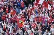 1 October 2006; Cork fans cheer on their side during the game. TG4 Ladies All-Ireland Senior Football Championship Final, Cork v Armagh, Croke Park, Dublin. Picture credit: Brendan Moran / SPORTSFILE