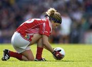 1 October 2006; Valerie Mulcahy, Cork, places the ball on the ground as she prepares to take a free kick. TG4 Ladies All-Ireland Senior Football Championship Final, Cork v Armagh, Croke Park, Dublin. Picture credit: Brendan Moran / SPORTSFILE