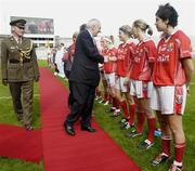 1 October 2006; An Taoiseach Bertie Ahern, TD, is introduced to Cork's Valerie Mulcahy by team captain Juliet Murphy before the game. TG4 Ladies All-Ireland Senior Football Championship Final, Cork v Armagh, Croke Park, Dublin. Picture credit: Brendan Moran / SPORTSFILE