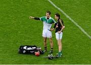 10 August 2014; Opposing goalkeepers, David Herity, left, Kilkenny, wearing a Limerick jersey, and Nickie Quaid, Limerick, wearing a Kilkenny jersey in conversation after the game. GAA Hurling All-Ireland Senior Championship, Semi-Final, Kilkenny v Limerick, Croke Park, Dublin. Picture credit: Dáire Brennan / SPORTSFILE