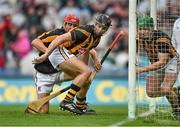 10 August 2014; JJ Delaney, centre, Kilkenny, clears the sliothar with his team-mates David Herity and Paul Murphy, right, shortly before half time. GAA Hurling All-Ireland Senior Championship, Semi-Final, Kilkenny v Limerick, Croke Park, Dublin. Picture credit: David Maher / SPORTSFILE